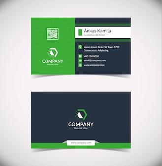 Современный зеленый геометрический шаблон визитной карточки