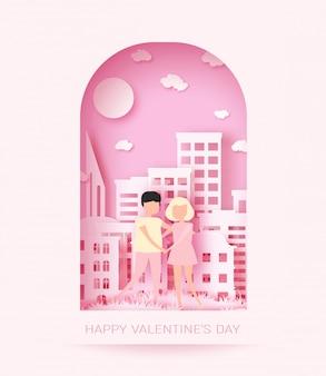 ピンクの紙のカップルの背景