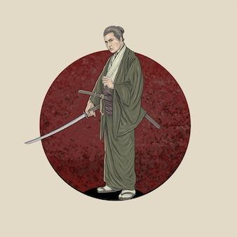 Самурай держит катану готов к бою