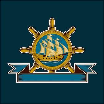 Винтажная иллюстрация морского значка