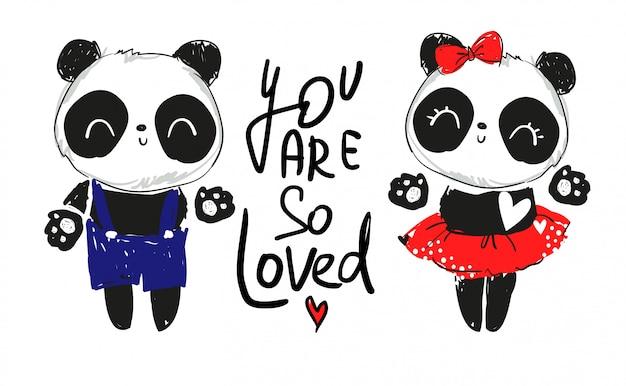 愛のカップルのイラストのパンダ。テキスト:あなたはとても愛されています