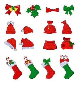 Рождественский набор векторные иллюстрации.