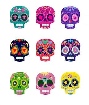 Декоративные красочные черепа установить день мертвых векторные иллюстрации. мексиканская диа-де-лос-муэртос.