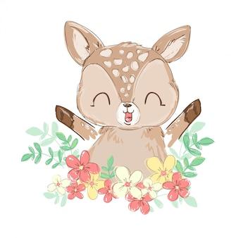 手描きのかわいい小さな鹿。