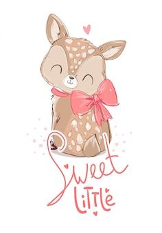 手描きのかわいい小さな鹿と弓。