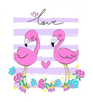バレンタインのグリーティングカード。ハートのイラストがピンクのフラミンゴのペア
