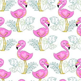 Фламинго с тропическим рисунком листьев