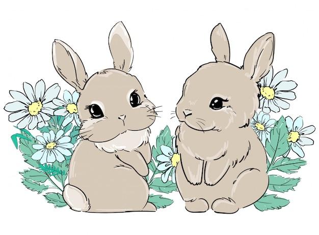 かわいいバニーは花、ヒナギクに座っています。子供用テキスタイル、ポスターデザイン、保育園の印刷。ふわふわのウサギの尻尾。イラスト素材。