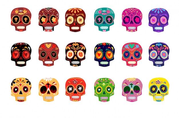 装飾的なカラフルな頭蓋骨は死者の日を設定