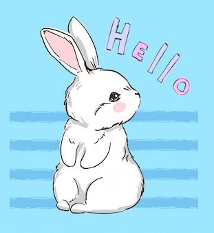 手描きのかわいいウサギ、プリントデザインのウサギ。