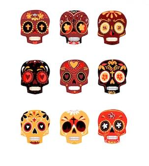 装飾的なカラフルな頭蓋骨は、死んだベクトル図の日を設定します。メキシコのディアデロスムエルトス。