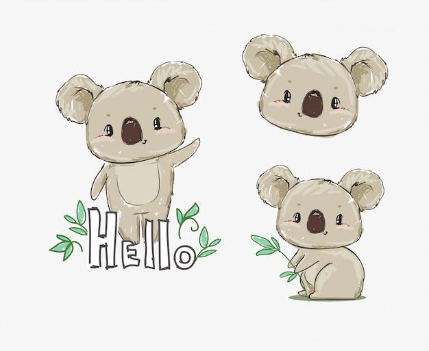 コアラの美しいかわいい幼稚なプリントセット。手描き動物コアラのイラストをスケッチします。