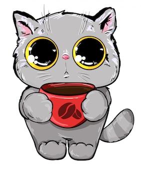 コーヒーイラストのカップを持つ猫