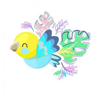 かわいい鳥のイラスト。