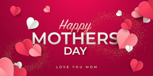 幸せな母の日グリーティングカードデザイン