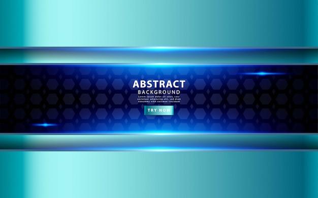 モダンなシルバーブルーオーバーレイレイヤーの背景。テクスチャの黒いペンタゴン背景に現実的な光の効果。