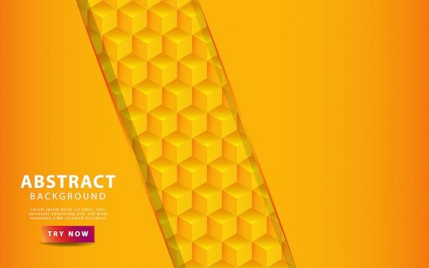 オレンジ色の線でモダンな黄色とオレンジ色のグラデーション正方形の背景