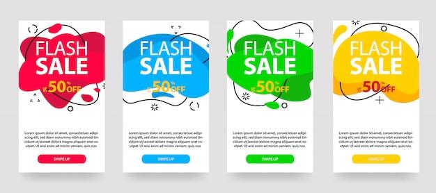 ダイナミックモダンな流動モバイル販売バナー。販売バナーテンプレートデザイン、フラッシュ販売特別オファーセット、ソーシャルメディアの投稿など。