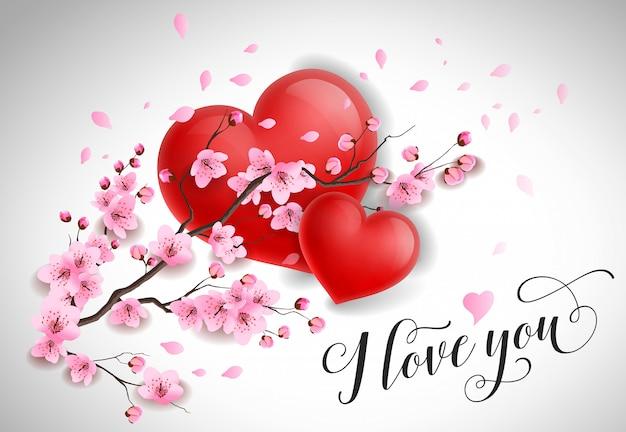 私はあなたを愛していますサクラの枝で手紙を書く