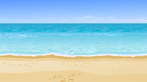 Реалистичный красивый вид на море. концепция летних каникул.