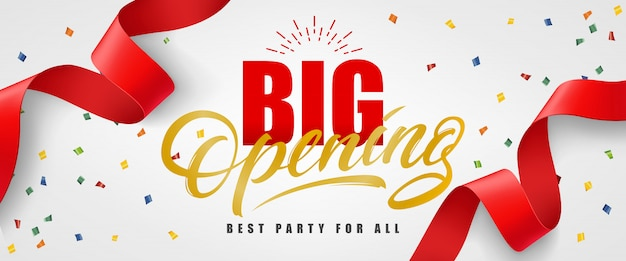 ビッグオープニング、色とりどりの赤いストリーマーを持つすべてのお祭りのバナーに最適なパーティー