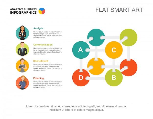 ビジネスアルゴリズムのスライドテンプレート。チャート。インフォグラフィック、レポートの創造的なコンセプト。