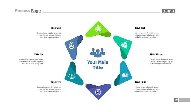 Шесть пунктов шаблона диаграммы процесса. визуализация бизнес-данных.
