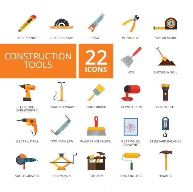 Строительство коллекция инструментов значки