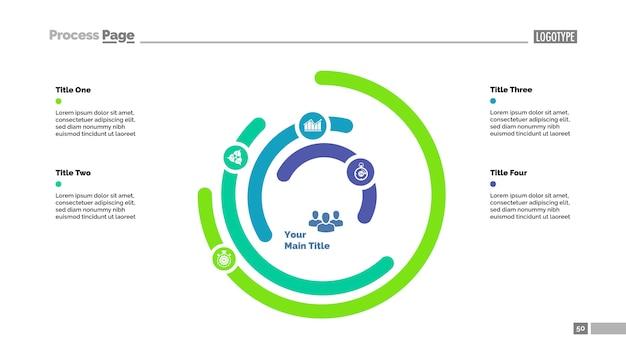 Пятислойный шаблон слайдов с круговой диаграммой. бизнес-данные. график, диаграмма, сравнение