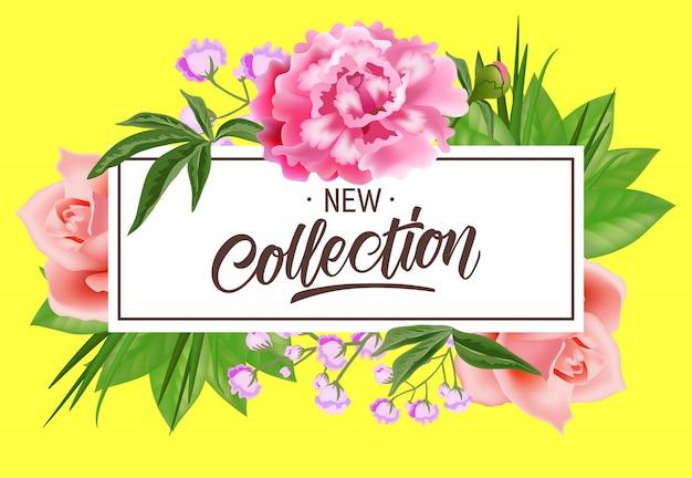 花と一緒にフレームに新しいコレクションレタリング。夏の提供または販売広告