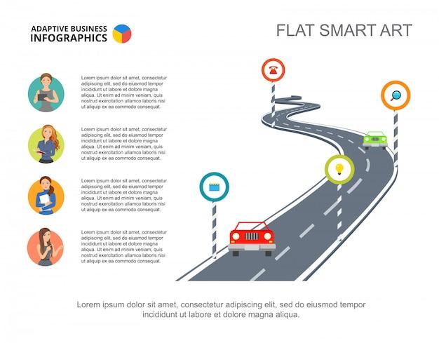 Шаблон диаграммы процесса метафоры дорожных знаков для презентации.
