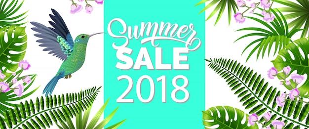 Летняя распродажа, двадцать восемнадцать синих баннеров с тропическими листьями, лиловые цветы и колибри