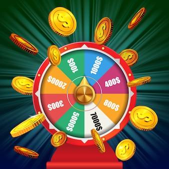 Колесо фортуны с летающими золотыми монетами. рекламная кампания в казино