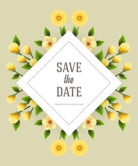 灰色の背景に黄色の花が付いた日付テンプレートを保存します。手書きのテキスト、書道。