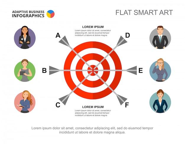 Шесть стрелок в шаблоне целевой диаграммы процесса для презентации. бизнес-данные.