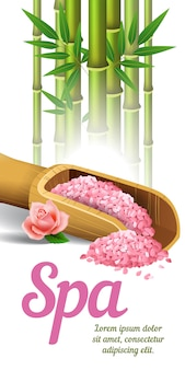 スクープのレタリング、竹と塩。スパサロン広告ポスター
