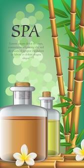 Спа-надпись, цветок, бамбук и две бутылки с маслом. рекламный плакат спа-салона