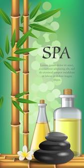 Спа-надпись, цветок, бамбук, бутылки и камни. рекламный плакат спа-салона