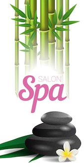 Спа-салон с надписью, бамбук и камни. рекламный плакат спа-салона