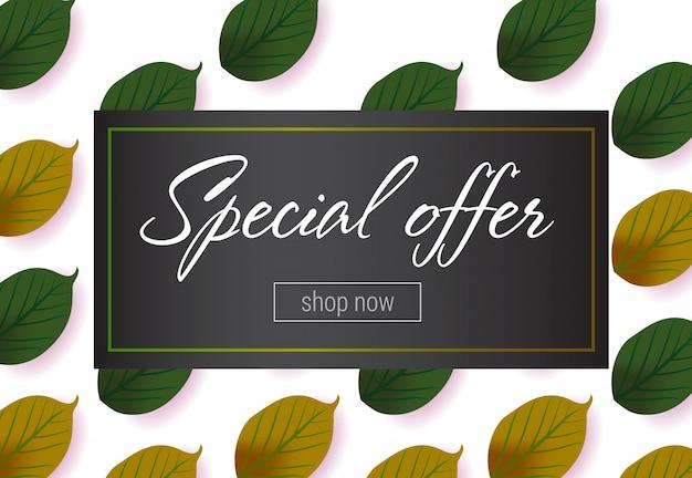Специальная надпись с рисунком из зеленого листа. осеннее предложение или продажа рекламы