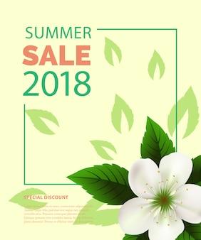 Летние продажи надписи в рамке с белым цветком. летняя реклама или продажа рекламы