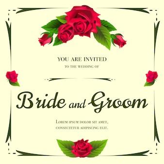 黄色の背景にバラの束と結婚式の招待状。