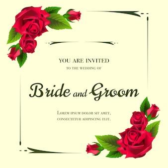 黄色の背景に赤いバラの結婚式の招待状。