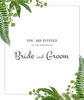 結婚式招待状。白い背景に緑のフレーム。パーティー、イベント、お祝い。