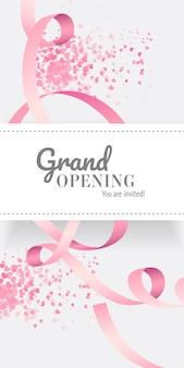 グランドオープンあなたはピンクのリボンで招待されたレタリングです