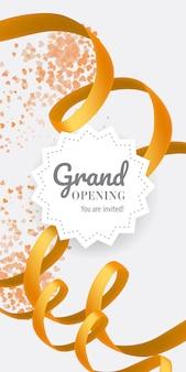 グランドオープニングあなたは渦巻きのゴールデンリボンで招待されたレタリングです