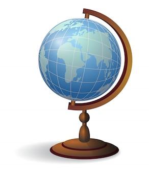 デスクトップグローブ。地理、教育のコンセプト。