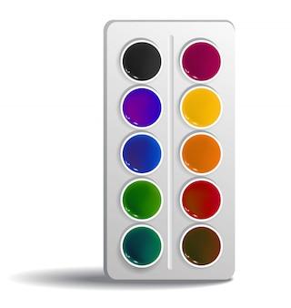 水彩画の現実的なイラスト。アート、ツール、染料。学校の供給コンセプト。