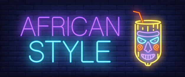 Африканский стиль неоновый знак. светящиеся штриховые надписи со странным стеклом