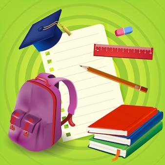 バックパックと緑の背景に本と空の紙シート